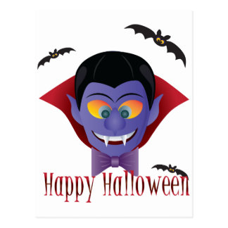 Happy Halloween Count Dracula Illustration Postcard