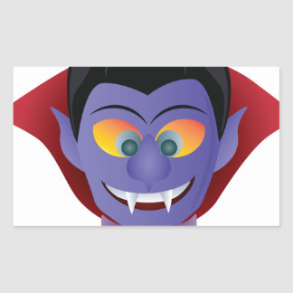 Happy Halloween Count Dracula Illustration Rectangular Sticker
