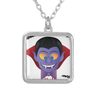 Happy Halloween Count Dracula Illustration Silver Plated Necklace