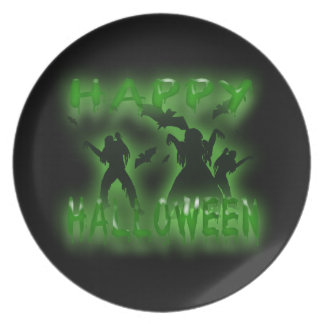 Happy Halloween  Creepy Bats and Zombies Plate