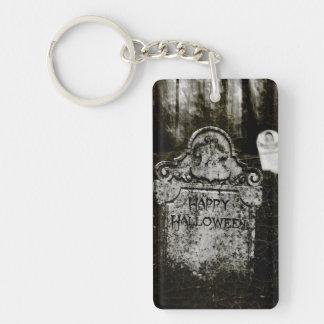 Happy Halloween Creepy Cemetery Keychain