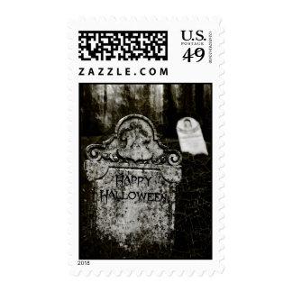 Happy Halloween Creepy Cemetery Stamp