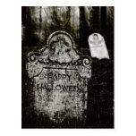Happy Halloween Creepy Graveyard Postcard