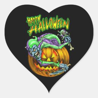 Happy Halloween Creepy JesterKin Heart Sticker
