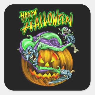 Happy Halloween Creepy JesterKin Square Sticker