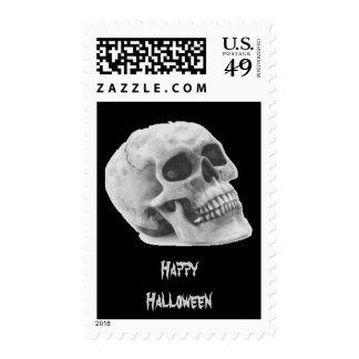 Happy Halloween Creepy Skull Postage & Cards