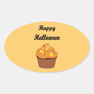 Happy Halloween Cupcake Oval Sticker