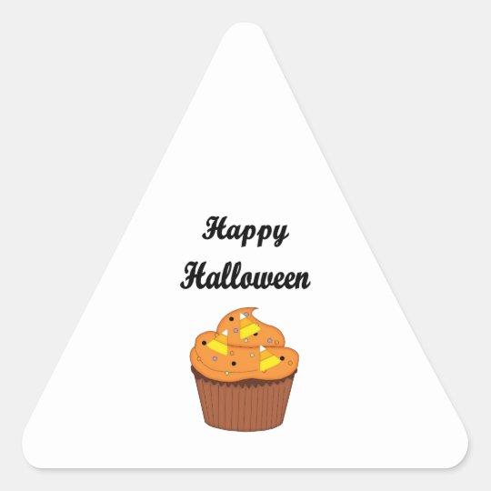 Happy Halloween Cupcake Triangle Sticker