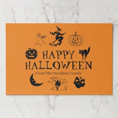 Happy Halloween custom name black orange placemats