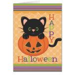 Happy Halloween Cute Cat Jack o' Lantern Greeting Card