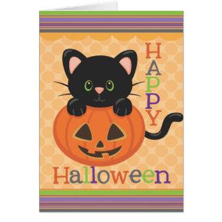 Happy Halloween Cute Cat Jack o' Lantern Card