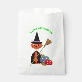 Happy Halloween Cute Cat Witch Favor Bag