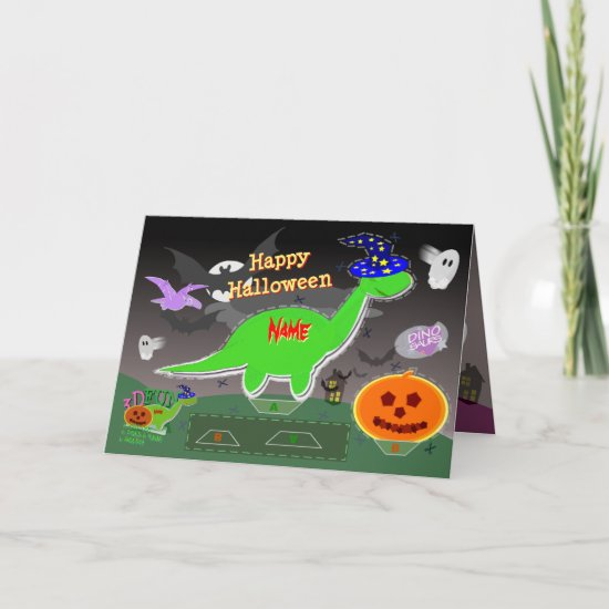 Happy Halloween Cute Dinosaurs 3D Cut & Fold Craft Card