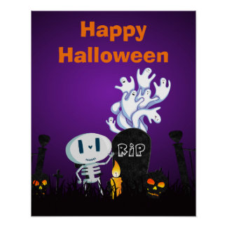 Happy Halloween Cute Ghosts & Seletons in Cemetery Poster