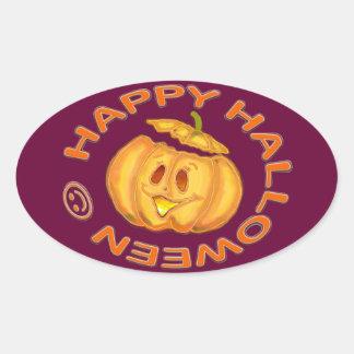 Happy Halloween Cute Laughing Pumpkin Oval Sticker