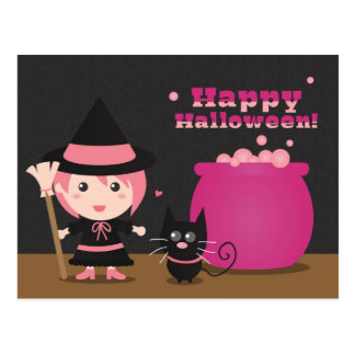 Happy Halloween, Cute Pink Witch and Black Cat Postcard