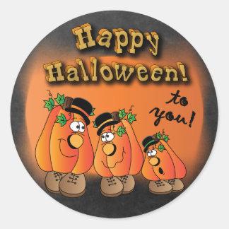 Happy Halloween Cute Pumpkins Classic Round Sticker