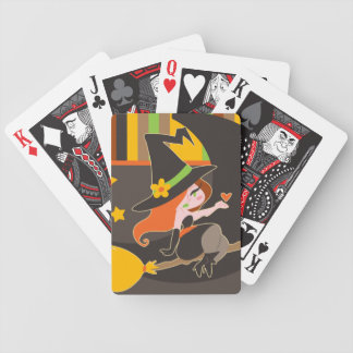 """Happy Halloween"" Cute Red Haired Witch Bicycle Playing Cards"