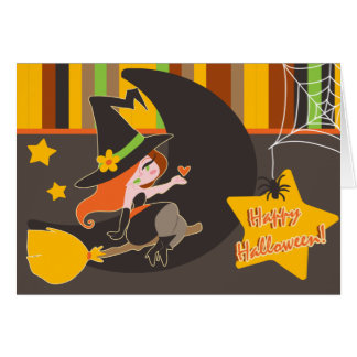 """""""Happy Halloween"""" Cute Red Haired Witch Greeting Cards"""