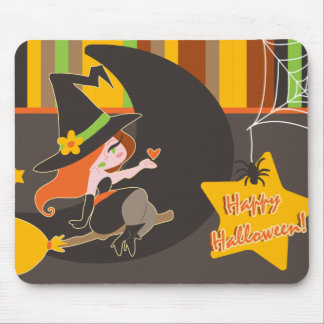 """Happy Halloween"" Cute Red Haired Witch Mouse Pad"