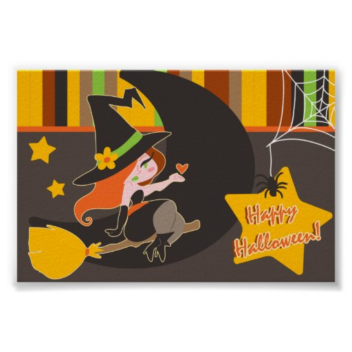"""""""Happy Halloween"""" Cute Red Haired Witch Poster"""