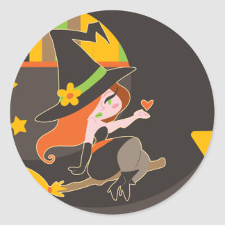 """Happy Halloween"" Cute Red Haired Witch Round Stickers"
