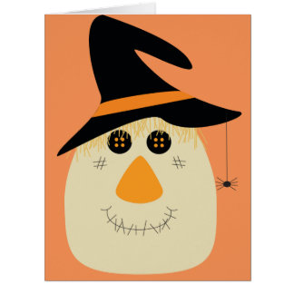 Happy Halloween Cute Scarecrow and Spider Card