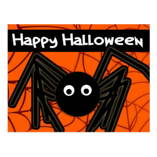 Happy Halloween Cute Spider Customizable Post Cards