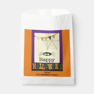 Happy Halloween, Cute Spider & Web, Personalized Favor Bag