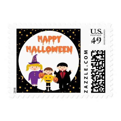 Happy Halloween Cute Trick or Treat Kids Postage Stamp
