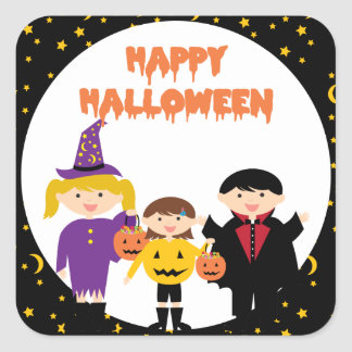 Happy Halloween Cute Trick or Treat Kids Square Sticker