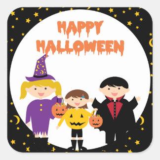 Happy Halloween Cute Trick or Treat Kids Square Sticker