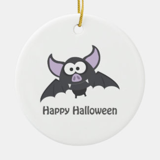 Happy Halloween. Cute Vampire Bat Ceramic Ornament