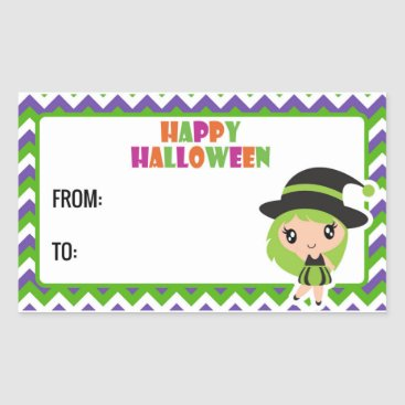 Halloween Themed Happy Halloween cute witch label 3 - green