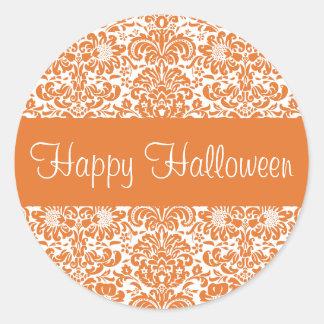 Happy Halloween Damask Envelope Sticker Seal
