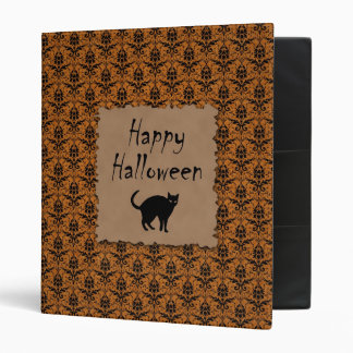 Happy Halloween Damask With Black Cat 3 Ring Binder