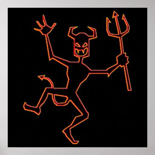 Happy Halloween Dancing Devil Print
