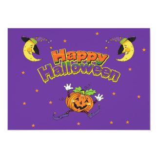 "Happy Halloween Dancing Pumpkin 5"" X 7"" Invitation Card"