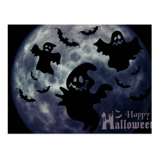 Happy Halloween Dark Ghosts Postcard