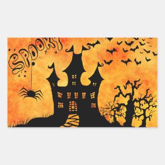 Happy Halloween Dark Ghosts Rectangular Sticker