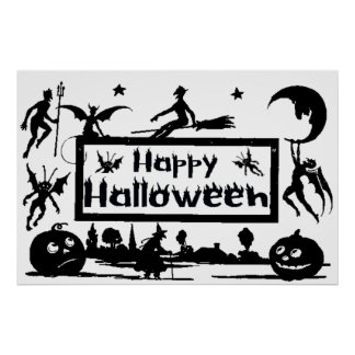 Happy Halloween Decoration Vintage Silhouette Poster