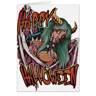 Happy Halloween Devil Girl Card