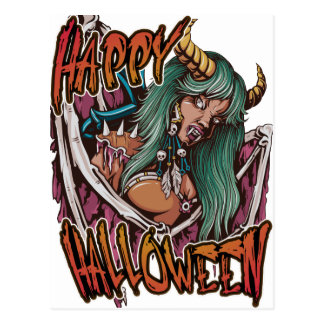 Happy Halloween Devil Girl Postcard