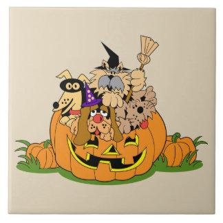 Happy Halloween Dogs In Pumpkin Ceramic Tile