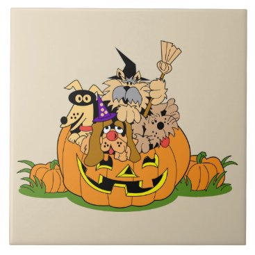 Halloween Themed Happy Halloween Dogs In Pumpkin Ceramic Tile