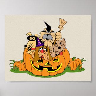 Happy Halloween Dogs In Pumpkin Poster