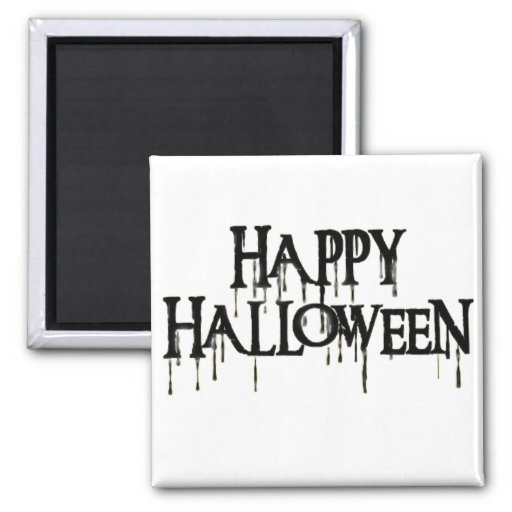 Happy Halloween Drippy Text Image 2 Inch Square Magnet