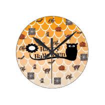 Happy Halloween emoji Round Clock