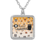 Happy Halloween emoji Silver Plated Necklace