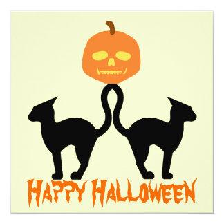 "Happy Halloween Evil Kitties Invitation 5.25"" Square Invitation Card"
